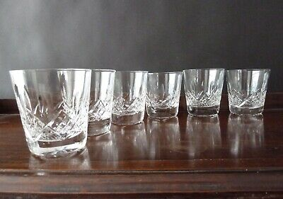 6 Stuart Crystal Glengarry Cut Whisky Tumblers, Not Signed, h 9cm