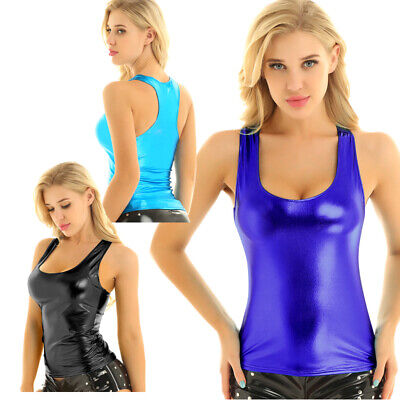Sexy Women Shiny Metallic Wet Look Tank Tops Rave Dance Blouse Vest  Camisole