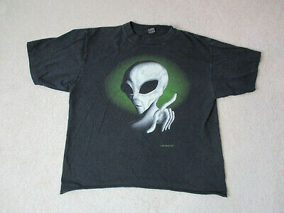 VINTAGE Fashion Victim Shirt Adult Extra Large Black Green Alien 1995 Mens 90s