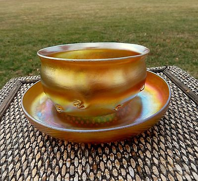 Signed LCT TIFFANY FAVRILE Platinum Gold PIG TAIL PRUNTS Glass BOWL UNDER TRAY