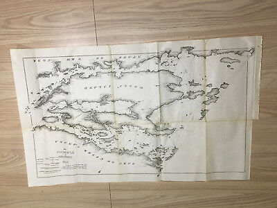 1898 Map of 1818 Iroquois St Lawrence Wells' Island NY Canada Treaty of Ghent