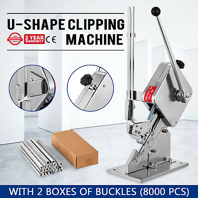 U-shape Sausage Clipping Clipper Machine 8000Pcs Clips Steel Supermarket Sealer