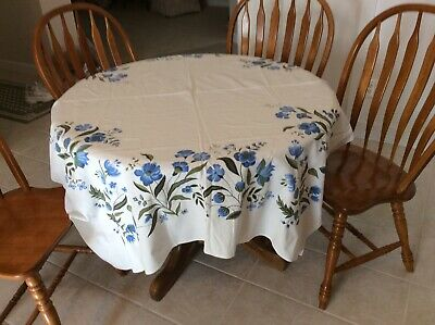 VINTAGE 1950/60s TABLECLOTH, WHITE WITH BLUE FLOWERS