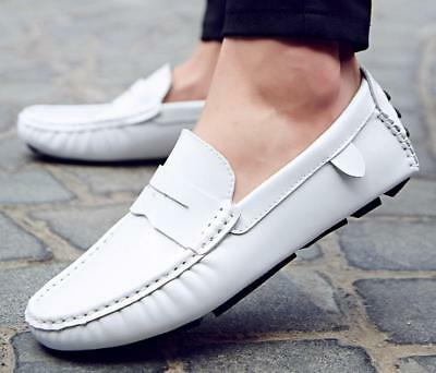 New Mens Slip On Loafers Comfy Driving Casual Patent Leather Moccasin Boat Shoes