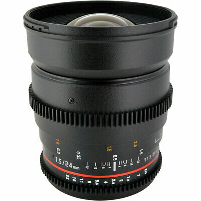 Rokinon 24mm T1.5 ED Cine Wide Angle Lens With De-Clicked Aperture for Canon EF