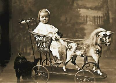 Antique Photo Little Girl on Wooden Horse Toy Victorian Era Photo Print 5x7