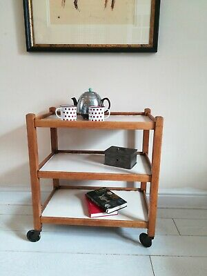 Vintage Painted Trolley wood and white in original condition original wheels