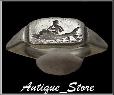 ** CUPID and DOLPHIN **Ancient Silver Legionary Greek Roman Ring **AMAZING **