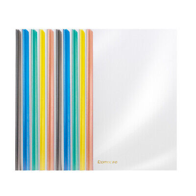 Comix 10x A4 Colourful Slide Bar Clear Report Covers Document Holder File Folder