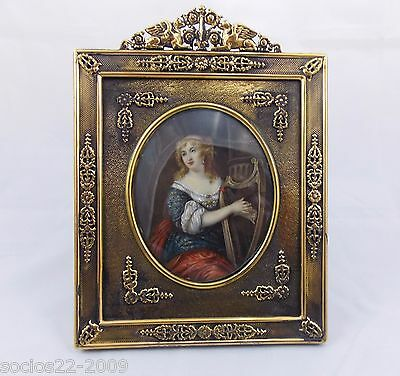 Antique Miniature Portrait Beautiful Lady in Bronze  Frame (R9)