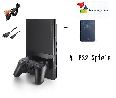 Sony PLAYSTATION 2 Slim 4GB Consola (Pal - SCPH-90004) + 4 Spiele (USK16)