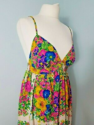 1351dcfa9729 Topshop Maxi Dress Floral White Bright Summer Bold Strappy Long Holiday  Beach 10