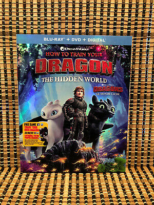 How to Train Your Dragon 3: The Hidden World (2-Disc Blu-ray/DVD,2019)+Slipcover