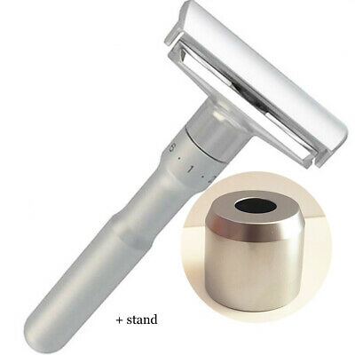 Adjustable Double Edge Shaving Safety Razor Shaver Blades Zinc Alloy with stand