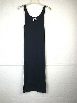 84167bfdd4d4 H&M Basic Long Black Dress Womens Size Medium Ribbed Tank Shirtdress Divided  M