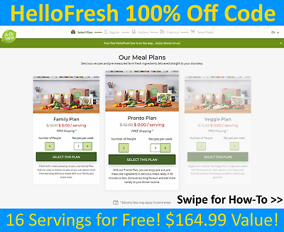 ⭐HelloFresh 100% Off FIRST BOX Promo Code ($164.99 Value) - Hello Fresh Meal Kit