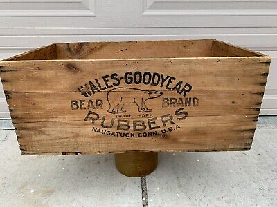 Vintage Wales Good Year Rubber Wooden Crate