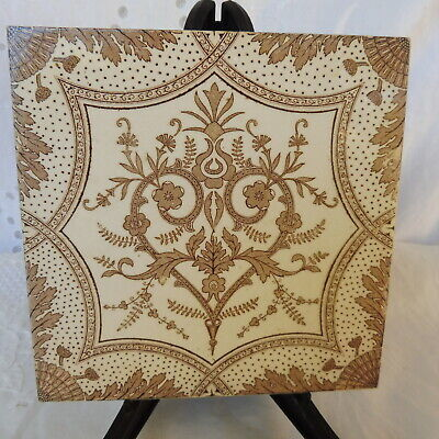 Antique Vintage Sepia/Brown and White Ceramic Tile : Art Deco