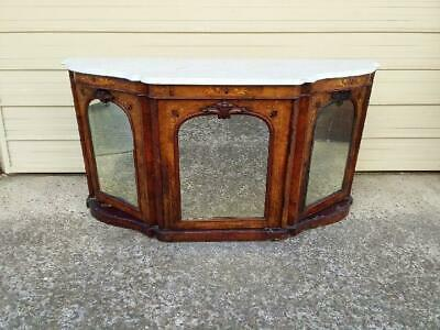19Th Century Antique Serpentine Walnut Credenza/Sideboard With Mirrored Doors