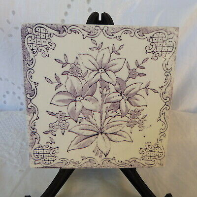 Antique Vintage Original English Violet Ceramic Tile Floral Bouquet Art Nouveau