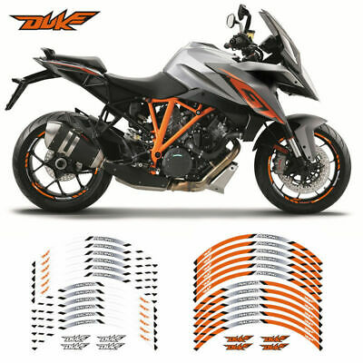 Motorcycle Wheel rim decals tape stripes stickers For KTM DUKE Orange/White