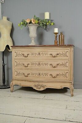 Large Vintage French Louis XV Marble Top Chest of Drawers (Pink) FREE DELIVERY!
