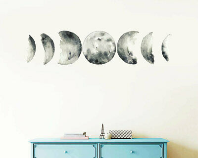 Moon Phases Wall Decal, Moon Phases Decor, Multicolored Moon Phases, Moon ga4