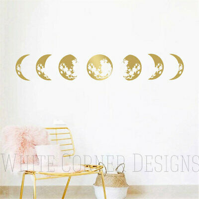 Moon Phases Wall Decal, Moon Phases Decor, Gold Moon Phases, Modern Decals ga109