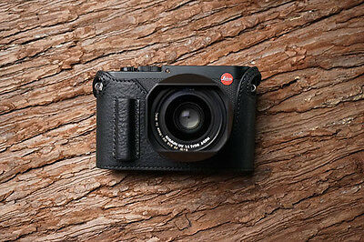 Genuine Real Leather Half Camera Case Bag Cover for Leica Q2 Black Handle