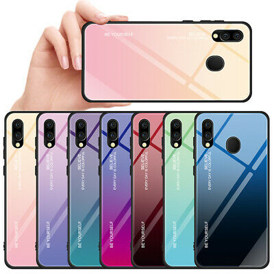 For Samsung Galaxy A20E A40 A50 Gradient Tempered Glass Hybrid Hard Case Cover