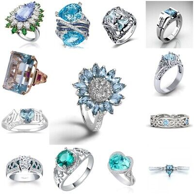 Pure Women 925 Silver Aquamarine Flower Wedding Promise Floral Ring Jewelry Gift