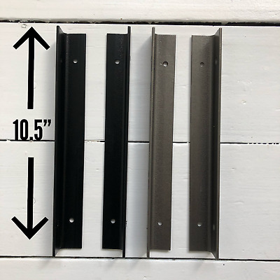 """Pair of 10.5"""" Large Alcove Steel Shelf Brackets in Black & Grey Floating Style"""