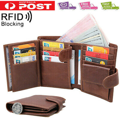 Large Capacity Genuine Leather Men Trifold Wallet RFID Blocking Card Coin Holder