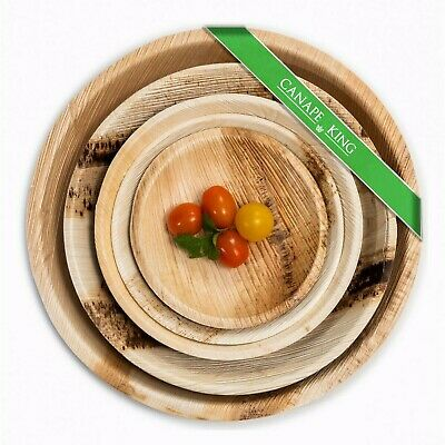 25 X Disposable Plates, Palm Leaf Bamboo Natural Round Plates, Party, Wedding