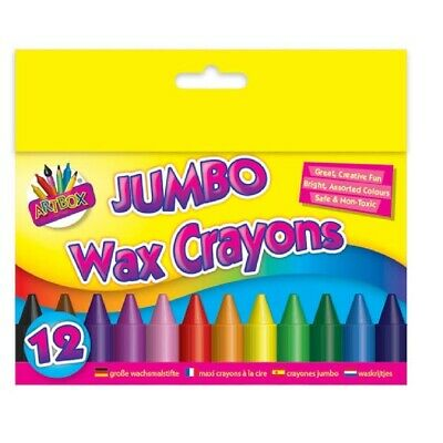 12 Jumbo Wax Crayons Toddler Chunky Size Colouring Sticks Thick Kids Childs Baby
