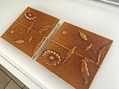 Antique English ceramic tiles 1882 MAW Brown geometric Majolica