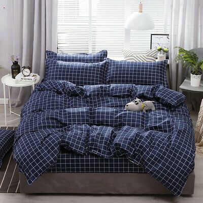 Navy Blue Checked Quilt Duvet Doona Cover Set Single Queen King Size Pillowcase