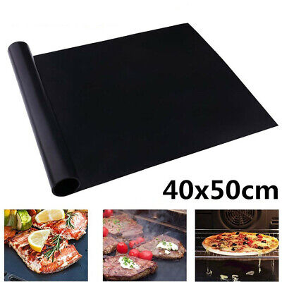 2x BBQ GRILL MAT SHEETS NON STICK OVEN LINERS BLACK GAS BAKING TRAY 40X50CM RO