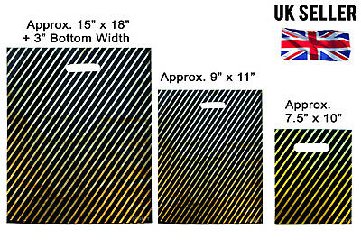 100 Small / 100 Medium / 100 Large BLACK & GOLD FASHION STRIPED CARRIER BAGS