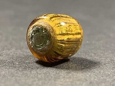 3 Of 5 Ancient Viking Gold Infused Glass Bead With Fine Detail Circa 800-1000Ad