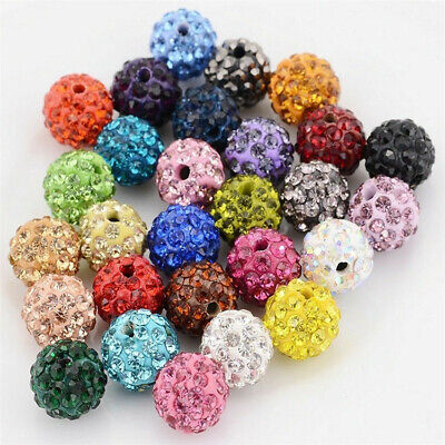 100PCS Lot Czech Crystal Colors 10mm Beads Pave Clay Round Disco Spacer
