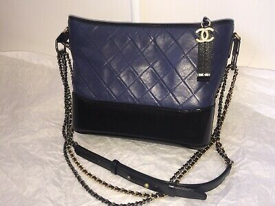7ea3c127b5ab 100%AUTH BRAND-NEW CHANEL GABRIELLE HOBO Quilted BLK Aged Calfskin ...