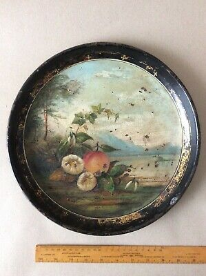 Antique Handpainted Tin Round Toleware Tray