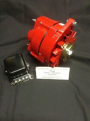 1963 - 69  Buick Riviera 135 Amp High Output Alternator Powder Coated Red