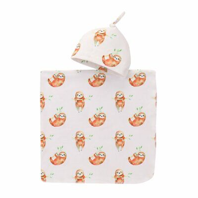 Cute Animal Sloth Printed Baby Cotton Fabric Swaddle Wrap Stroller Crib Cap Suit