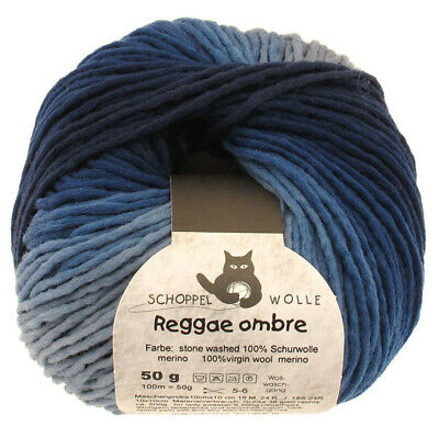 13€//100g Schoppel Wolle 50g Reggae ombre traumhaft weich Farbe 1535 Stone-Washed