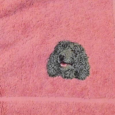 Irish Water Spaniel dog Embroidered Hand Towel, New Home Gift,