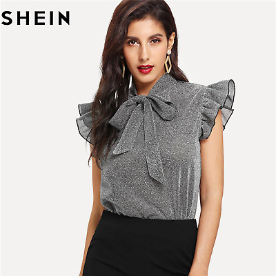 f505a20c40 SHEIN Women Elegant Office Lady Gray Tied Neck Ruffle Sleeve Summer Casual  Tops