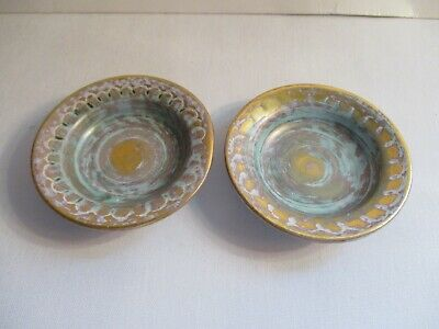 Vtg ~ Pair Of Stangl Pottery Butter Pads ~ # 3998 Antique Gold Over Blue/Green