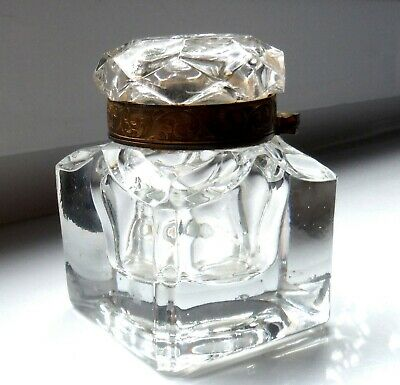 Large Antique Cut Glass Inkwell-Foliate Engraved Brass Collar ^